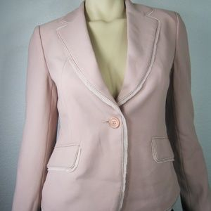 CLAMONT PARIS Fringed Trim Pink Blazers Jacket